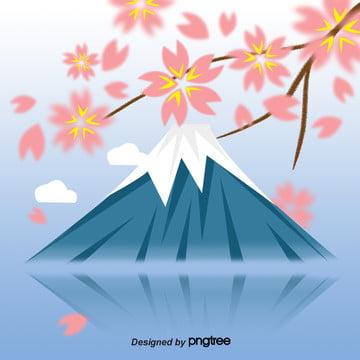 藍富士櫻花 , 富士, 日式, 春天 背景圖片