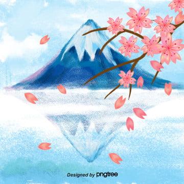 富士山の桜の風景 , 影を落とす, 富士山, 日本風 背景画像
