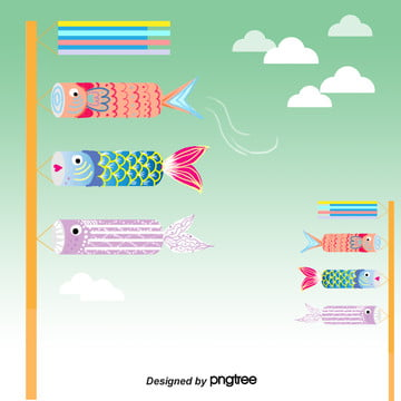 Green Childrens Day Carp Flag, Sky, Japanese Style, Spring, Background image