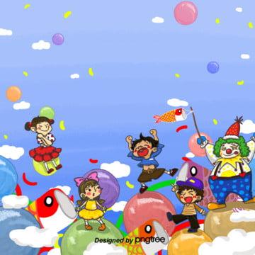手描きの青い空日本の子供の日の空の背景 , 雲, 子供の日, アニメの手描き 背景画像