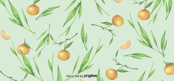 オレンジオレンジの緑色の葉の果物の清新な背景 , 葉の葉, 手絵, 並ぶ 背景画像