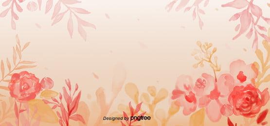 붉은 봄에 꽃  잎 및 식물의 따뜻한 배경 , 사랑스러운, 손으로 그린, 일러스트 레이 션 배경 이미지