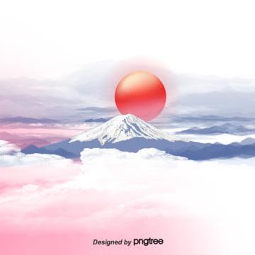 中国風背景イラスト浅色日の出富士山 , 中国風, 雲海, 富士山 背景画像