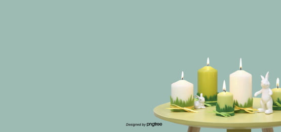 green realistic candlestick table little rabbit easter egg background , Realistic Style, Easter, Magnificent Background image