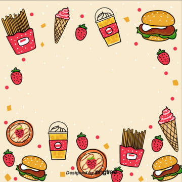 o fundo pintado à mão dos desenhos animados  fast food , Sorvete, Cartoon, Fast Food Imagem de fundo