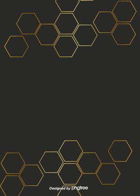 黒い派手な幾何学の六角形の漸変金色の境界の背景 , 六角形, 幾何学, 北欧 背景画像