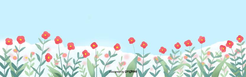 싱그러운 카톤 봄 빨간 꽃 배경 , 만화, 손잡다, 봄 배경 이미지