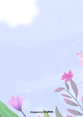 シンプルな春の紫の花のイラストの背景 アニメ 空 手絵 背景画像