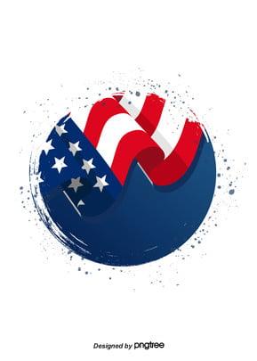 दौर स्याही ब्रश संयुक्त राज्य अमेरिका झंडा पृष्ठभूमि , रचनात्मक, झंडा पृष्ठभूमि, परिपत्र पृष्ठभूमि छवि
