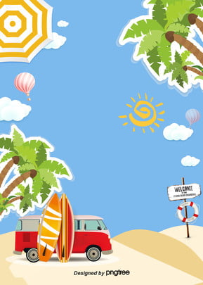 verão cartoon background beach , Cartoon, No Verão, O Sol Imagem de fundo