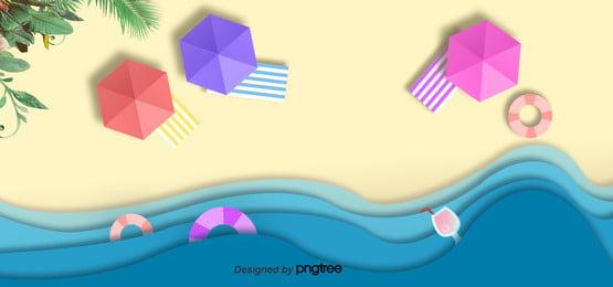 पीले गर्मियों में समुद्र तट लहरों पृष्ठभूमि , कागज-कट शैली, गर्मियों पृष्ठभूमि, गर्मियों में पृष्ठभूमि छवि