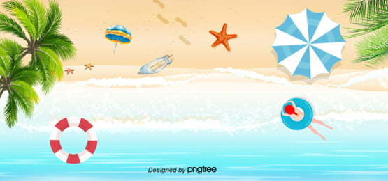 Background Of Beach Tourism And Holiday In Sunny Summer, Summertime, Sun Umbrella, Coconut Tree, Background image