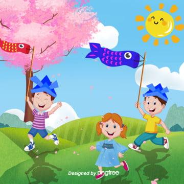 日本の子供の日の鯉のぼりの背景 , 子供の日, 夏, 太陽 背景画像