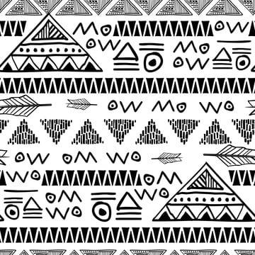 preto e branco do doodle seamless pattern vector ilustração bohemian chic ethnic background , Abstract, American, Antigo Imagem de fundo