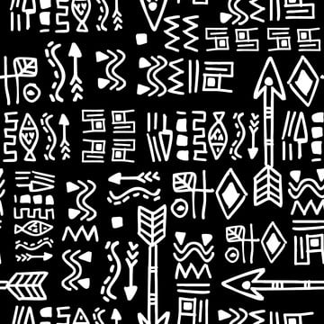 preto e branco do doodle seamless pattern vector ilustração bohemian chic ethnic background , Abstract, Africano, American Imagem de fundo