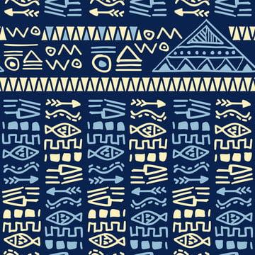 ブルーハンドは民族テキスタイルプリントのための民族部族アステカスタイルのシームレスなパターンベクトルを描いた , 抄録, アフリカ, アフリカ人 背景画像