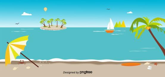 藍色夏天海灘背景 , 海, 椰子樹, 沙灘鞋 背景圖片