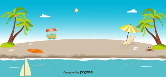 藍色夏天海灘背景 , 夏天背景, 海, 椰子樹 背景圖片