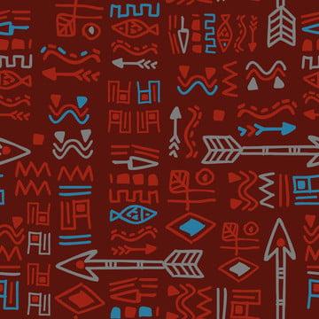 बोहेनिया निर्बाध पैटर्न वेक्टर चित्रण के साथ एक लाल रंग कामचोर हाथ खींचा प्राचीन प्रतीक , सार, अफ्रीका, अफ्रीकी पृष्ठभूमि छवि