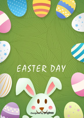 Easter Egg Background, Multicolored, Rabbit, Cartoon, Background image