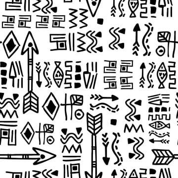 जातीय हाथ निकालके निर्बाध पैटर्न के साथ प्राचीन माया एज़्टेक हाथ निकालके काले और सफेद रंग , सार, अफ्रीकी, अमेरिकी पृष्ठभूमि छवि