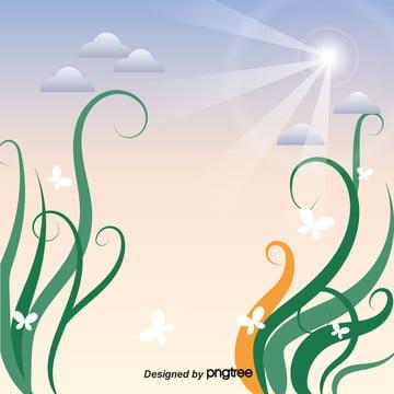 綠色植物天空在春天 , 天空, 日式, 春天 背景圖片