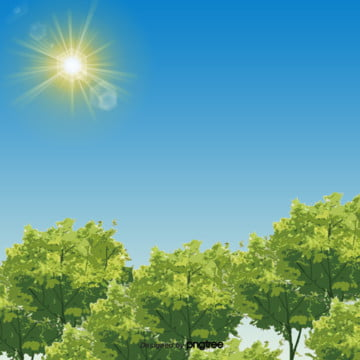 春の植物の背景 , 春の植物, 太陽, 手描きの春の植物 背景画像