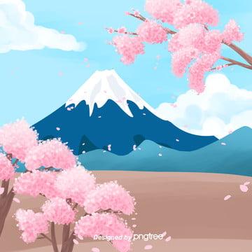 日本富士山イラストスタイル , 富士山, イラスト, 日本 背景画像