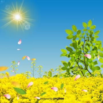 和風の春の花の背景 , 雲, 漫画の春の花, 太陽 背景画像