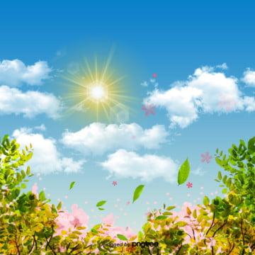 日本式の青い空の背景 , 太陽, 青い空, 春の背景 背景画像