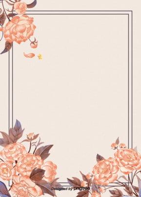 सरल सीमा वसंत फूल पृष्ठभूमि , पत्ते, विंटेज, हाथ चित्रित पृष्ठभूमि छवि