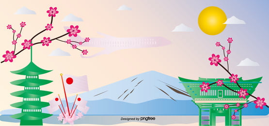 富士山清泉寺春桜旅行図 , 富士山, 日本の国旗, 春の旅 背景画像