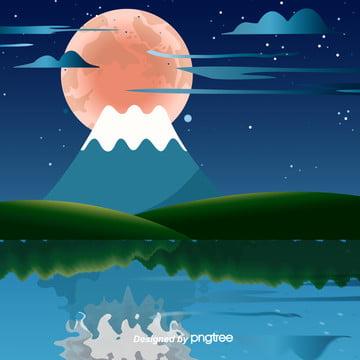 日の出日本富士山イラストスタイル , 富士山, イラスト, 日本 背景画像
