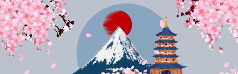 中国風イラスト日本特色ポスター , 中国風, 古塔, 太陽 背景画像