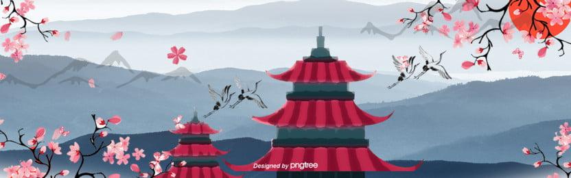 手絵中国風イラスト日本特色ポスター , 中国風, 古塔, 太陽 背景画像