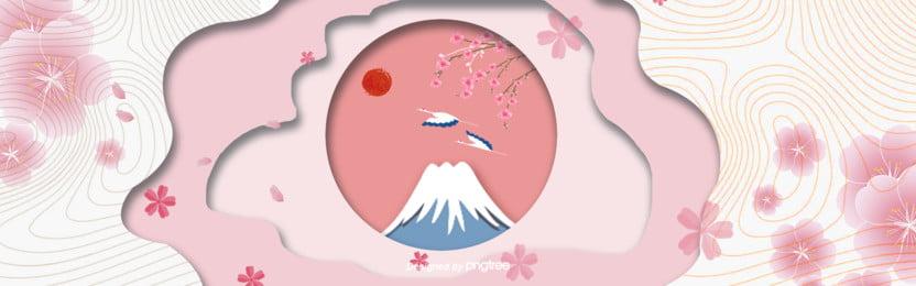 中国風イラストの日本特色ポスター , 中国風, 太陽, 富士山 背景画像