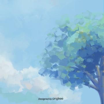 青空の緑の木のデザインの背景 , 春の花の背景, 水彩, 緑の木 背景画像