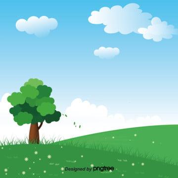 青空の白い雲の木の設計の背景 , 雲の輪, 季節, 小草 背景画像