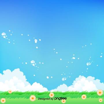 青空と白雲の緑の草の背景 , 季節, 小草, 春の背景 背景画像