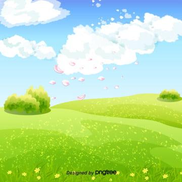 青空と白雲の緑の草のデザインの背景 , 季節, 小草, 春の背景 背景画像