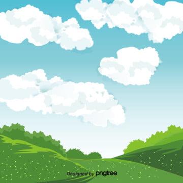 青空白雲自然風景背景デザイン , 季節, 小草, 春の背景 背景画像