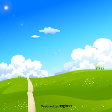 design of natural landscape background of blue sky and white cloud , Season, Grass, Spring Background Background image