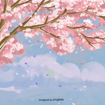 春の木のデザインの背景 , 春の花の背景, 木, 水彩 背景画像