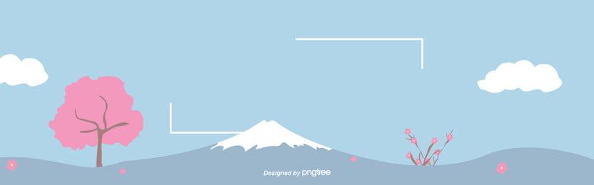 青い空の下で富士山の桜の背景 , 富士山, 型版, 桜の花 背景画像
