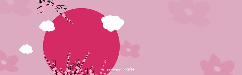 ピンク系桜の赤い日の背景 , 暖かい色, 桜の花, ピンク 背景画像