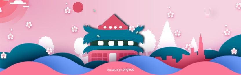 3 d立体つづ色日本伝統建築古塔buner , 3 D立体buner, カットスタイル, レース背景 背景画像
