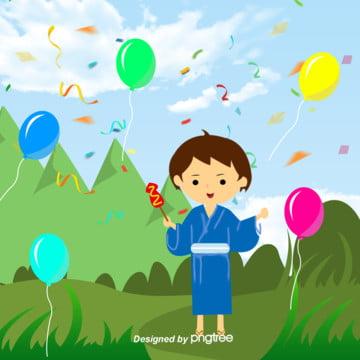 緑の日本の子供の日の青空の白雲の緑の草 , 子供, 着物, 山 背景画像