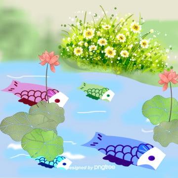 日本の子供の日の鯉のぼり , 夏, 手絵, イラスト 背景画像