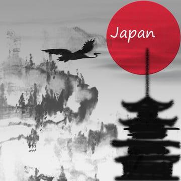 水墨風日本古塔の背景 , 山, 日本の古塔, 日本の太陽 背景画像