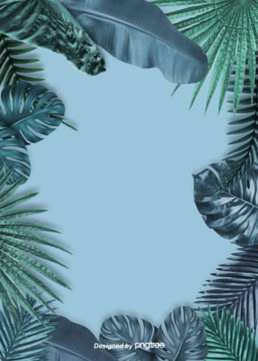 blue realistic style summer atmosphere background with big stacked banana leaves and palm leaves , Realism, Stacking, Summer Background image